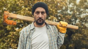 LUMBERJACK TOLD TO WORK FROM HOME DESTROYS HIS GARDEN